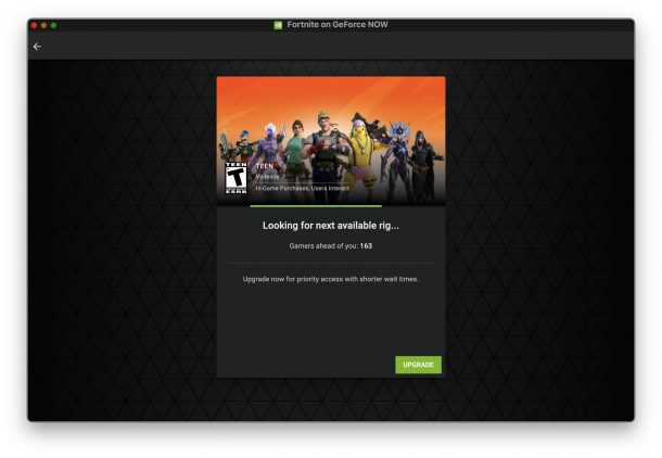 Playing Fortnite on GeForceNow works great but there are queues for free version