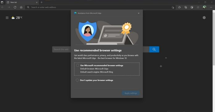 Microsoft Edge nagging users with recommended browser settings alert