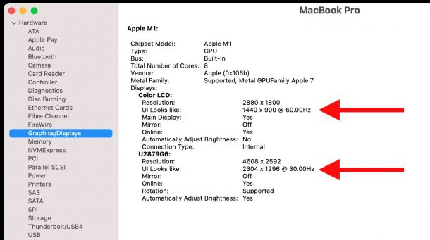 Show monitor refresh rate on Mac